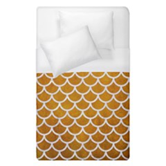 Scales1 White Marble & Yellow Grunge Duvet Cover (single Size)