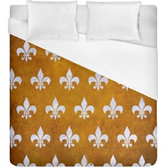 Royal1 White Marble & Yellow Grunge (r) Duvet Cover (king Size) by trendistuff