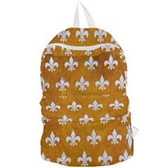 Royal1 White Marble & Yellow Grunge (r) Foldable Lightweight Backpack