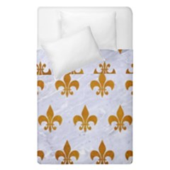 Royal1 White Marble & Yellow Grunge Duvet Cover Double Side (single Size) by trendistuff