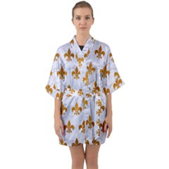 Royal1 White Marble & Yellow Grunge Quarter Sleeve Kimono Robe