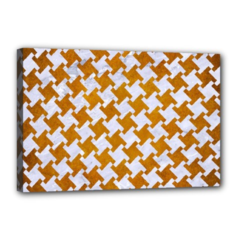 Houndstooth2 White Marble & Yellow Grunge Canvas 18  X 12  by trendistuff