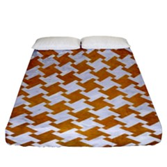 Houndstooth2 White Marble & Yellow Grunge Fitted Sheet (king Size) by trendistuff