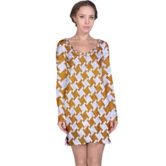 Houndstooth2 White Marble & Yellow Grunge Long Sleeve Nightdress