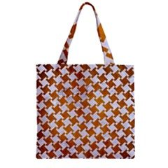 Houndstooth2 White Marble & Yellow Grunge Zipper Grocery Tote Bag by trendistuff