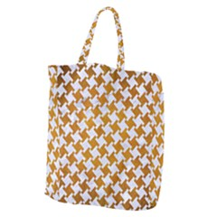 Houndstooth2 White Marble & Yellow Grunge Giant Grocery Zipper Tote by trendistuff