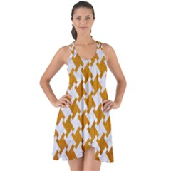 Houndstooth2 White Marble & Yellow Grunge Show Some Back Chiffon Dress by trendistuff
