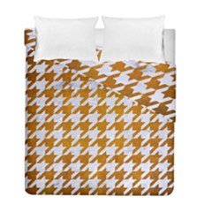 Houndstooth1 White Marble & Yellow Grunge Duvet Cover Double Side (full/ Double Size) by trendistuff