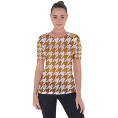 Houndstooth1 White Marble & Yellow Grunge Short Sleeve Top