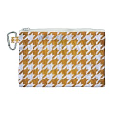 Houndstooth1 White Marble & Yellow Grunge Canvas Cosmetic Bag (large) by trendistuff