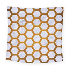 Hexagon2 White Marble & Yellow Grunge (r) Square Tapestry (large) by trendistuff