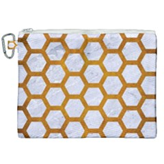 Hexagon2 White Marble & Yellow Grunge (r) Canvas Cosmetic Bag (xxl) by trendistuff