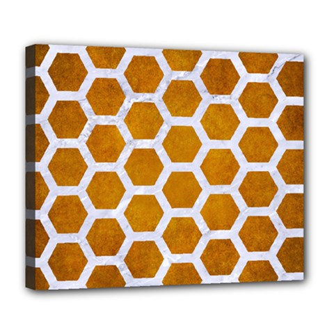 Hexagon2 White Marble & Yellow Grunge Deluxe Canvas 24  X 20   by trendistuff