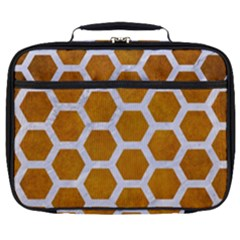 Hexagon2 White Marble & Yellow Grunge Full Print Lunch Bag by trendistuff