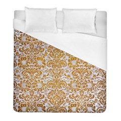 Damask2 White Marble & Yellow Grunge (r) Duvet Cover (full/ Double Size) by trendistuff