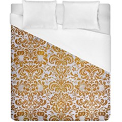 Damask2 White Marble & Yellow Grunge (r) Duvet Cover (california King Size) by trendistuff