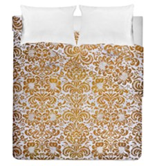 Damask2 White Marble & Yellow Grunge (r) Duvet Cover Double Side (queen Size) by trendistuff