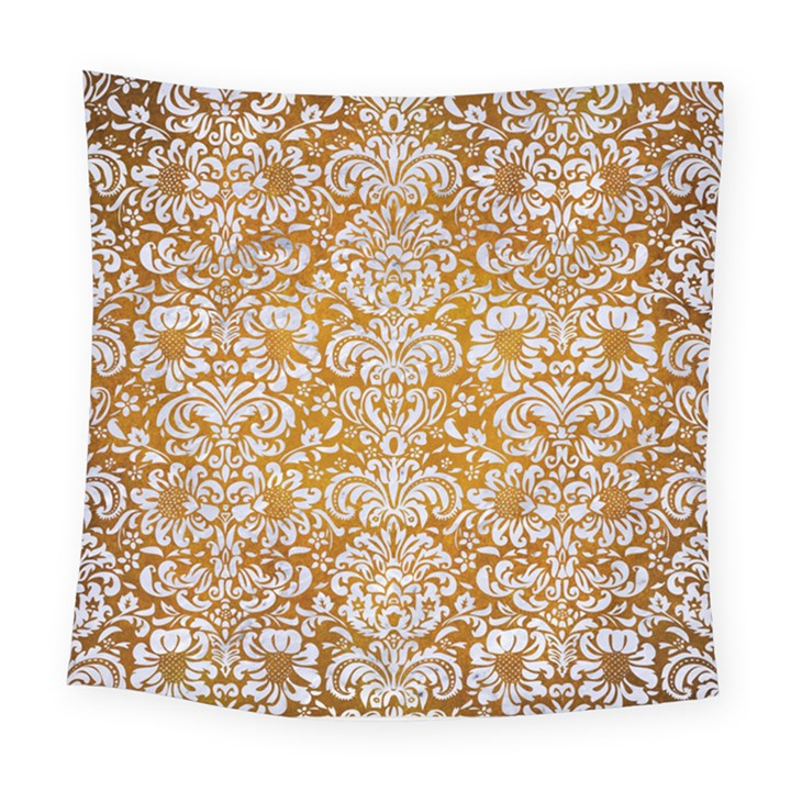 DAMASK2 WHITE MARBLE & YELLOW GRUNGE Square Tapestry (Large)