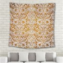 DAMASK2 WHITE MARBLE & YELLOW GRUNGE Square Tapestry (Large) View2