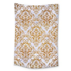 Damask1 White Marble & Yellow Grunge (r) Large Tapestry by trendistuff