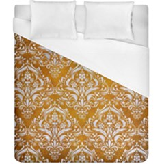 Damask1 White Marble & Yellow Grunge Duvet Cover (california King Size) by trendistuff