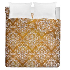 Damask1 White Marble & Yellow Grunge Duvet Cover Double Side (queen Size) by trendistuff