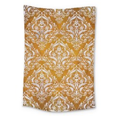 Damask1 White Marble & Yellow Grunge Large Tapestry by trendistuff