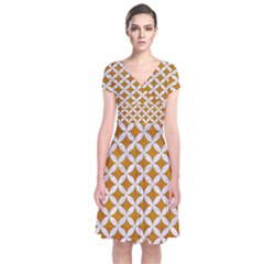 Circles3 White Marble & Yellow Grunge Short Sleeve Front Wrap Dress