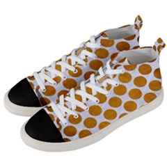 Circles2 White Marble & Yellow Grunge (r) Men s Mid Top Canvas Sneakers by trendistuff