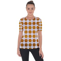 Circles1 White Marble & Yellow Grunge (r) Short Sleeve Top