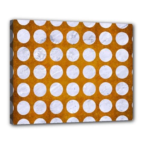 Circles1 White Marble & Yellow Grunge Canvas 20  X 16  by trendistuff