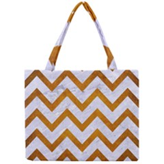 Chevron9 White Marble & Yellow Grunge (r) Mini Tote Bag by trendistuff