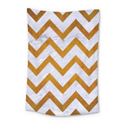 Chevron9 White Marble & Yellow Grunge (r) Small Tapestry by trendistuff