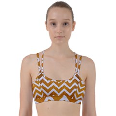 Chevron9 White Marble & Yellow Grunge Line Them Up Sports Bra by trendistuff