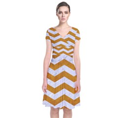 Chevron3 White Marble & Yellow Grunge Short Sleeve Front Wrap Dress