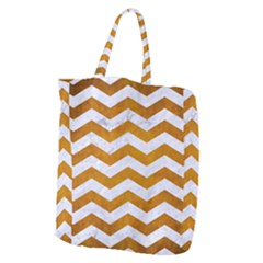 Chevron3 White Marble & Yellow Grunge Giant Grocery Zipper Tote by trendistuff