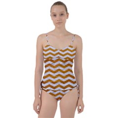 Chevron3 White Marble & Yellow Grunge Sweetheart Tankini Set