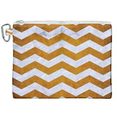 Chevron3 White Marble & Yellow Grunge Canvas Cosmetic Bag (xxl) by trendistuff