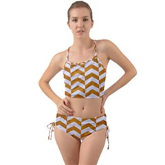 Chevron2 White Marble & Yellow Grunge Mini Tank Bikini Set by trendistuff