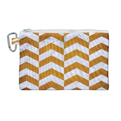 Chevron2 White Marble & Yellow Grunge Canvas Cosmetic Bag (large) by trendistuff