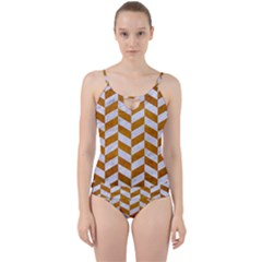 Chevron1 White Marble & Yellow Grunge Cut Out Top Tankini Set by trendistuff