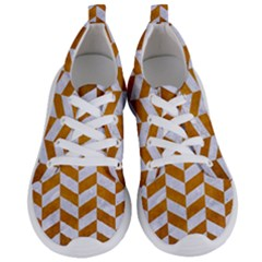 Chevron1 White Marble & Yellow Grunge Women s Lightweight Sports Shoes