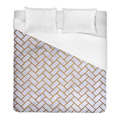 Brick2 White Marble & Yellow Grunge (r) Duvet Cover (full/ Double Size) by trendistuff