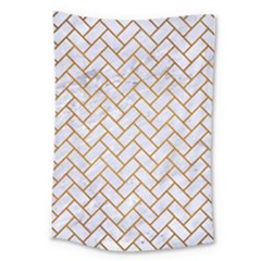 Brick2 White Marble & Yellow Grunge (r) Large Tapestry by trendistuff