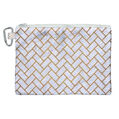 Brick2 White Marble & Yellow Grunge (r) Canvas Cosmetic Bag (xl)