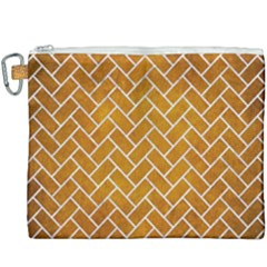 Brick2 White Marble & Yellow Grunge Canvas Cosmetic Bag (xxxl) by trendistuff