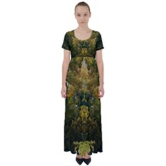 Vermont Fall High Waist Short Sleeve Maxi Dress