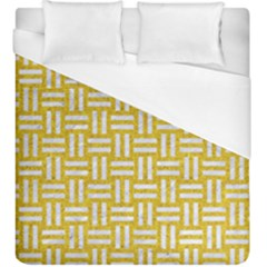 Woven1 White Marble & Yellow Denim Duvet Cover (king Size) by trendistuff