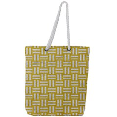 Woven1 White Marble & Yellow Denim Full Print Rope Handle Tote (large) by trendistuff