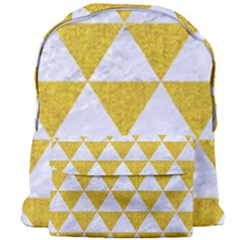 Triangle3 White Marble & Yellow Denim Giant Full Print Backpack by trendistuff